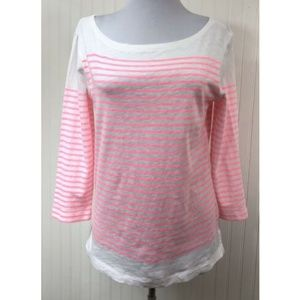 J.Crew XS Knit Top Striped Pink Cotton 3/4 Sleeves